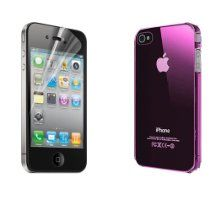 Quasaro® Ultra Slim Thin Back Cover Crystal Hard Case for Apple iPhone 4 / 4G / 4S - Clear Purple - Free Screen Protector