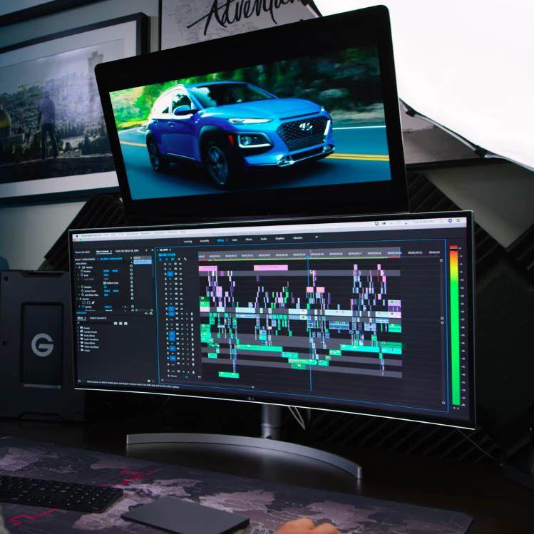 Video Editing Setup Built Around the LG 38WK95C-W UltraWide