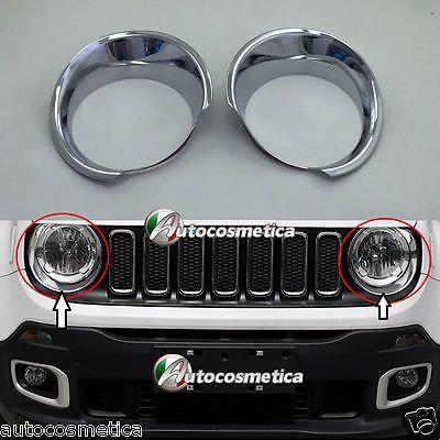 Cover Cornici Fari Anteriori Dx Sx Jeep Renegade In Abs Cromato