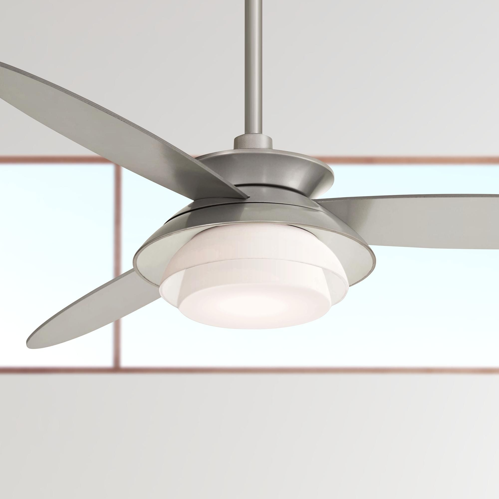 56 Inch Minka Aire Stack Silver Dimmable Led Ceiling Fan 56 Minka