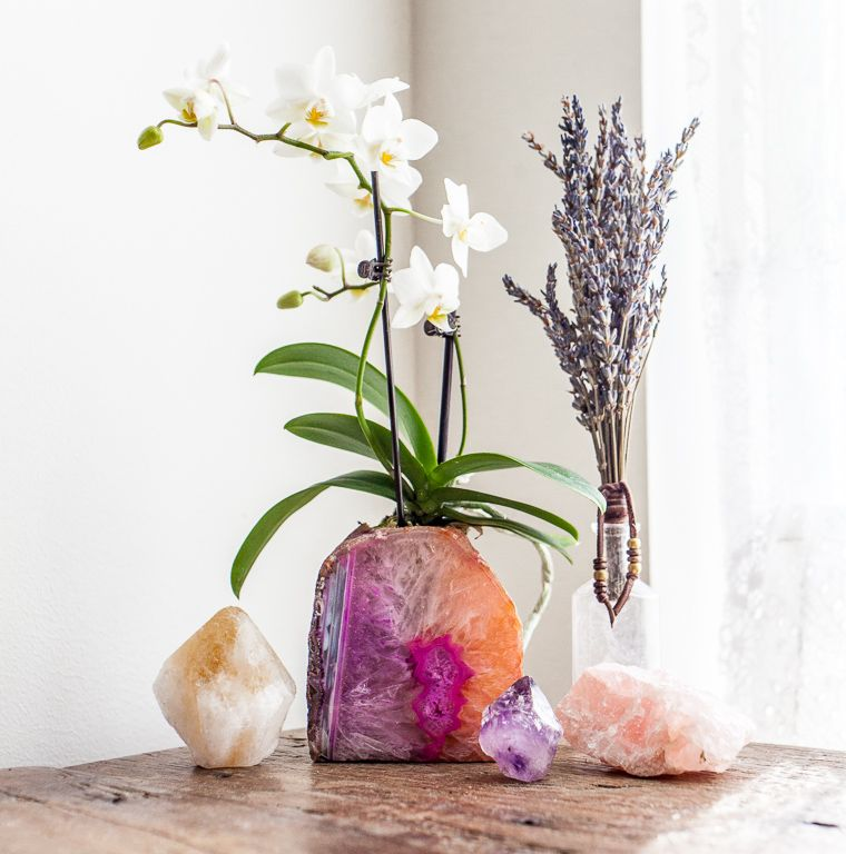 soulmakes agate geode candle holder doubling as a planter decor available at www soulmakes. Black Bedroom Furniture Sets. Home Design Ideas