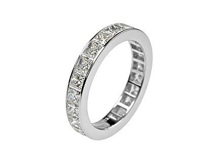 Captivating Platinum 3.5mm Wide Calibre Princess Diamond Band. Diamond Weight 3.76ct  Finger Size US6