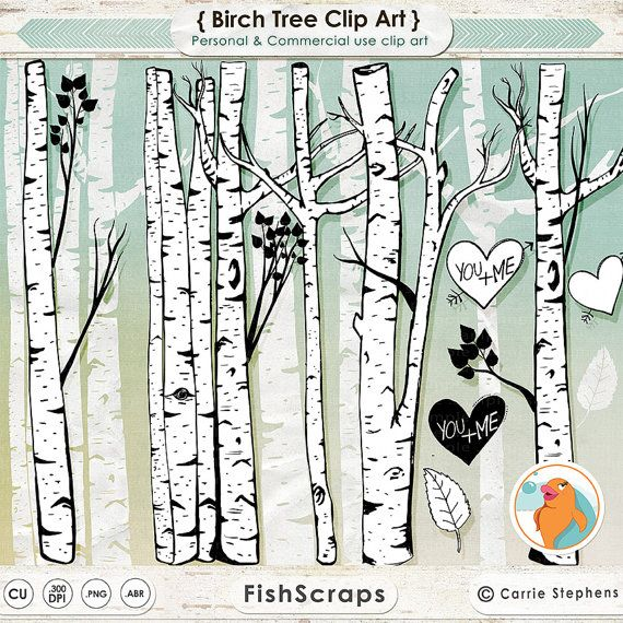 Birch Tree Clip Art, Winter Forest, Tree Branch ClipArt Outlines ...