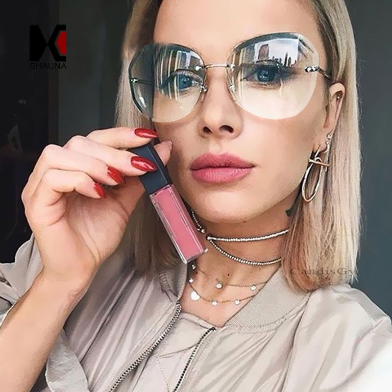 a8ce1d780e46 SHAUNA Fashion Women Rimless Square Sunglasses Brand Designer Thick Pink  Gradient Cutting Lens Glasses