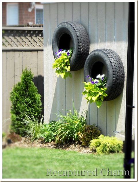 Come to think of it, I DO need new tires on my car Flores y - jardines con llantas