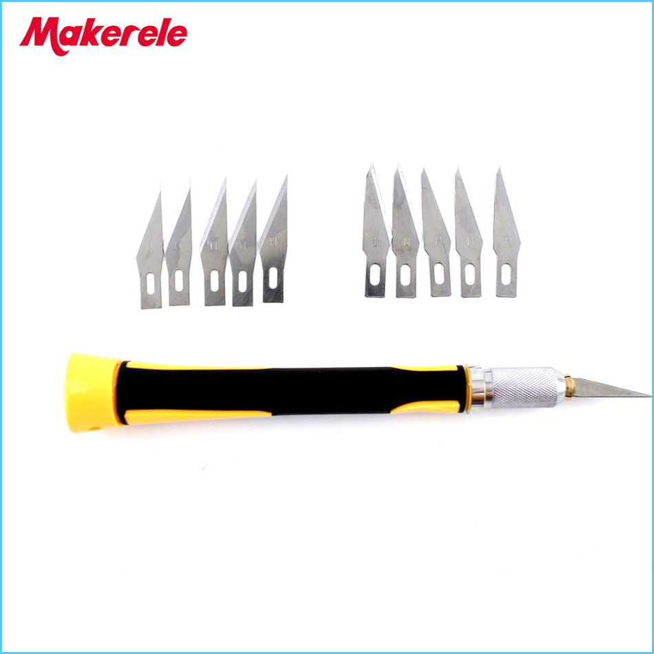 10cs Blades Set Carving Knife Hobby Diy Wood Engraving Cutting Circuit Board Cutter Images Of Sculpture Scalpel Pcb