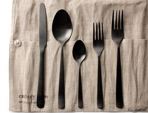 Tabletop Almoco Black Flatware At Dwr Remodelista Black Flatware Black Cutlery Flatware Design