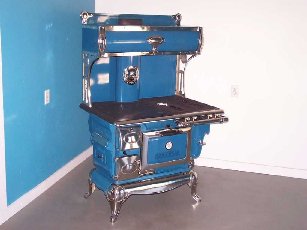 ANTIQUE WOOD COAL GAS COOK STOVE. CRIBBEN AND SEXTON UNIVERSAL FULLY - 1918 Wincroft Wood/Coal Cook Stove..Blue Enamel VERY GOOD