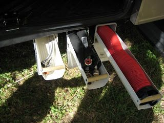 Pvc Mounted Under Trailer With Eavestrough That Slide In Out Secret Storage Camper Organization Travel Trailers Travel Trailer Storage Camping Storage