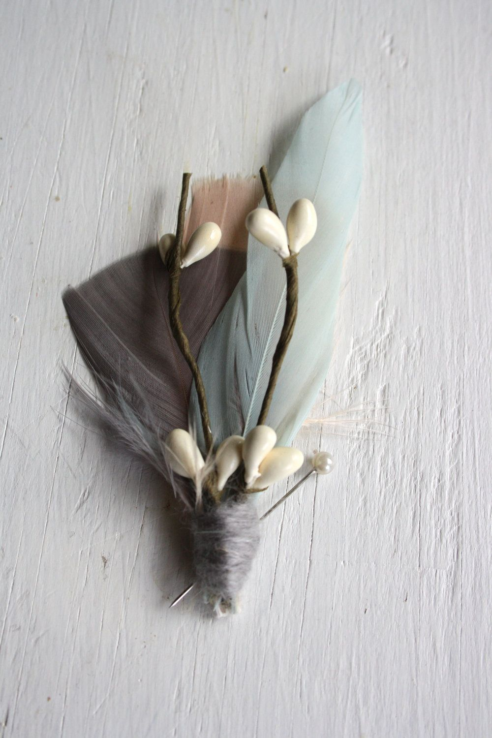 Morning wedding stage decoration  EMERSON Boutonniere in Greige Mint Cloud and Antique Blush