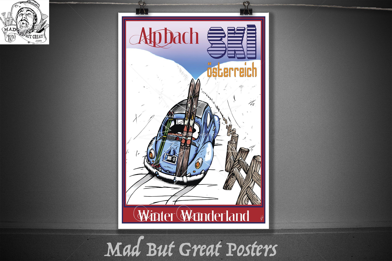 Alpbach, Austria, Winter Wonderland, original art print, vintage, wall art, retro, ski gifts, travel poster, ski decor, ski art, ski poster by MadButGreatPosters on Etsy