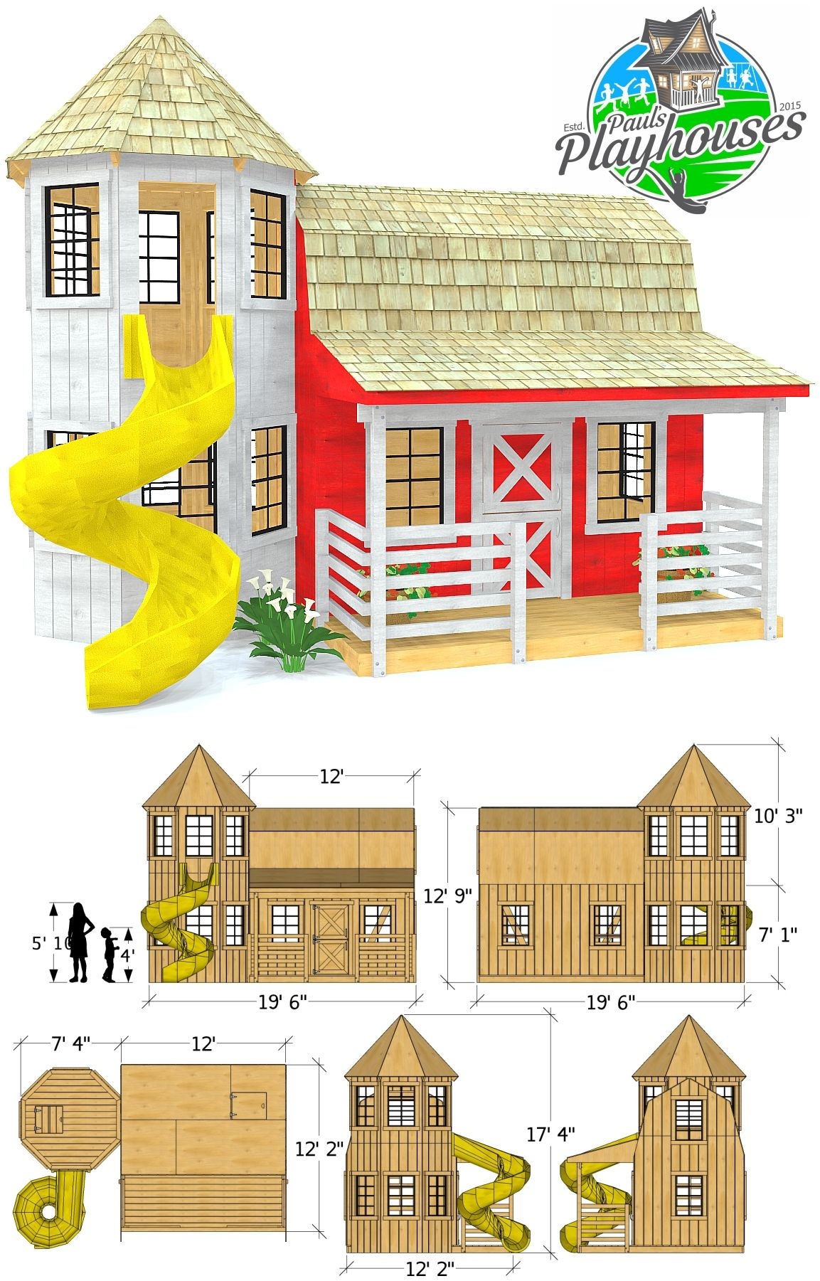 Barn Silo Playhouse Plan 2 Options Sold Separately Play Houses Kids Backyard Playground Playhouse Plan