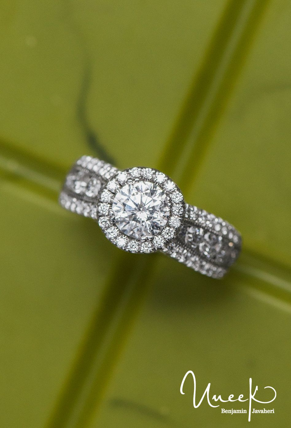 09a972d7f6b 1-Carat Round-Diamond Wide-Band Halo  EngagementRing with Three-Row Channel-  and Pave-Set Melees