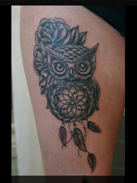 Rose Dreamcatcher Owl Tattoo I D Want Something Similar To This But With Color