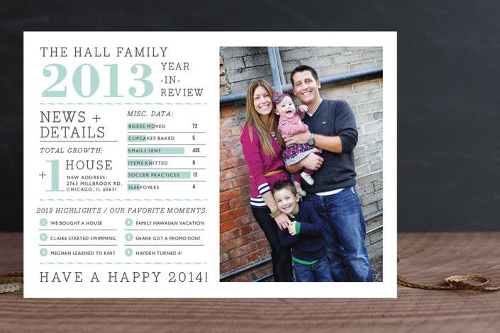 great looking modern timeline holiday photo card