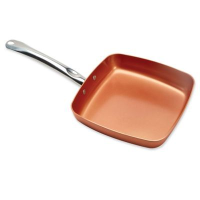 As Seen On Tv Copper Chef 11 Inch Square Nonstick Fry Pan Fries Copper Griddle Pan