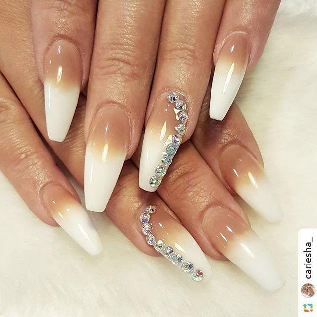 by @cariesha_:Nude and white acrylic ombre #nail #nailbar