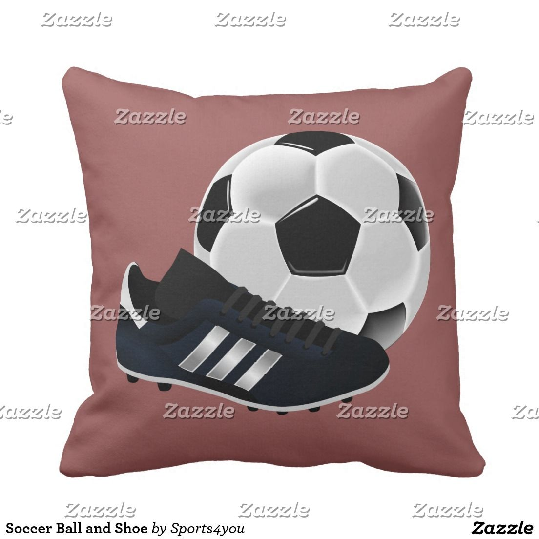 Soccer Ball and Shoe Throw Pillow by #Sports4you #Gravityx9 #Zazzle -  Hey, Soccer Players and Fans! You can customize this item by changing the background color to each side of the pillow, adding text, a photo or resizing the image to be larger, smaller, or tiled to fill the entire area!