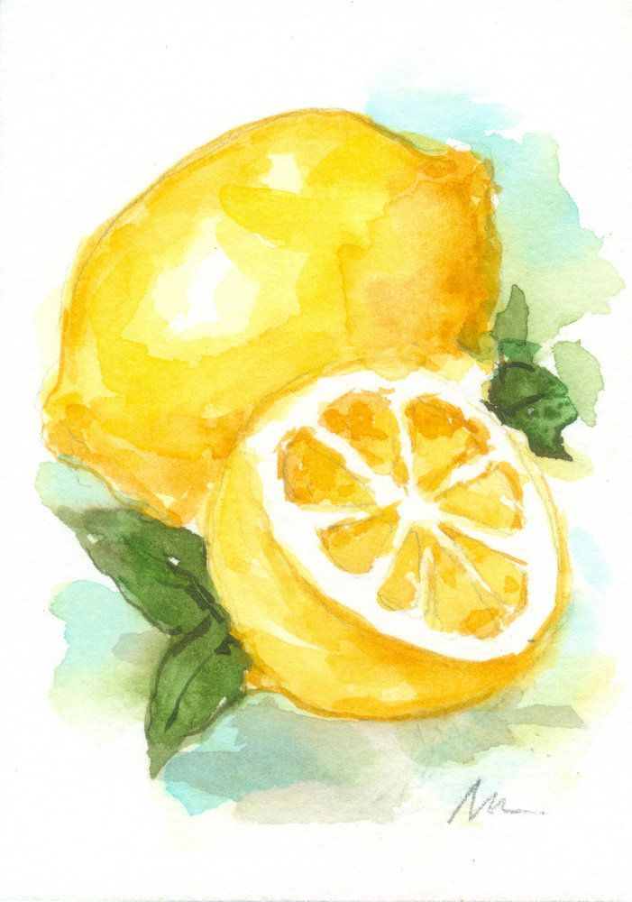 Lemon Fruit Mini Painting Original ACEO Citrus Food Watercolor Small Mini Tiny Kitchen Art Decor #easywatercolorpaintings