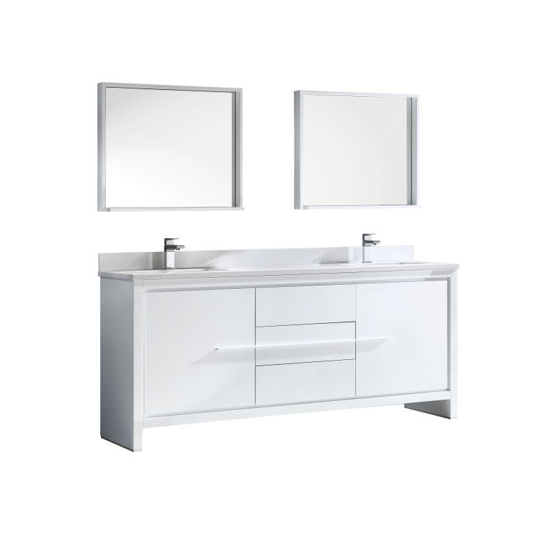 "Fresca FVN8172 72"" Wide Free Standing Vanity Set with Plywood Cabinet Ceramic T White Fixture Vanity Double"
