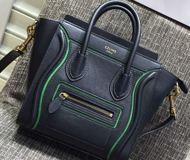 124d8b2815 Latest 2016 Celine Luggage Nano bi-color Tote Bag in Original Leather  green black