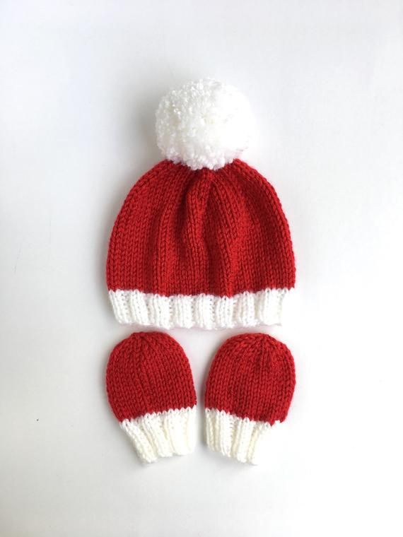 Hand knitted Newborn Santa hat with mittens 851c3d467a3