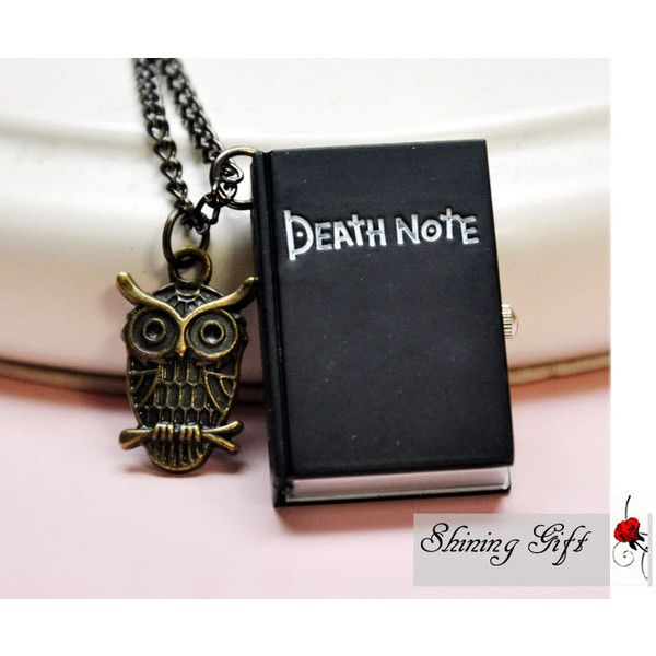 Death Note Pocket Watch locket Cuboid Necklace with a Cute Owl ($4.85) ❤ liked on Polyvore