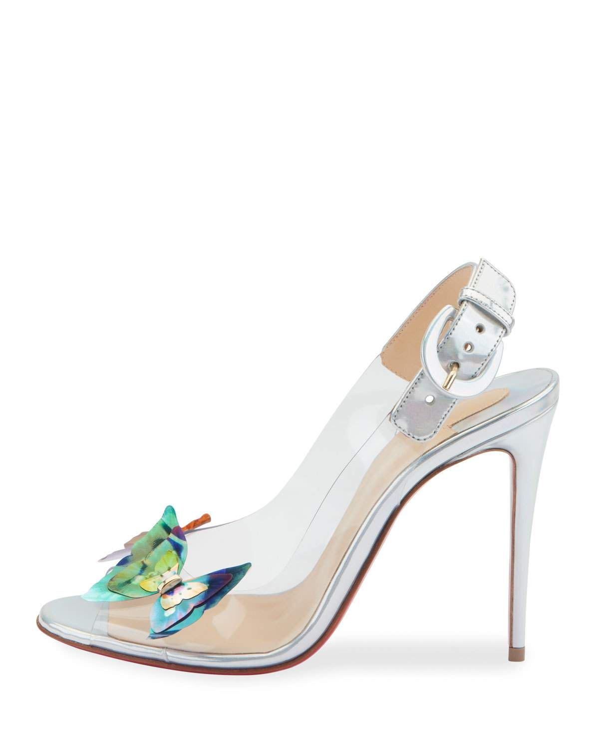 61fbb46f352a Christian Louboutin Ilcepoze 100 See-Through Red Sole Pumps with Butterfly    Neiman Marcus