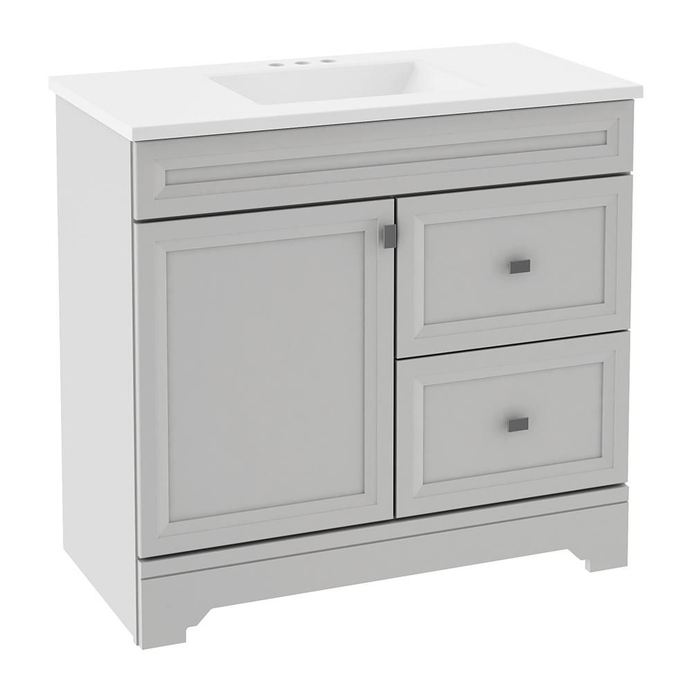 Home Decorators Collection Sedgewood 36 1 2 In W Bath Vanity In Dove Gray With Solid Surface Technology Vanity Top In Arctic With White Sink Pplnkdvr36d The Cheap Bathroom Vanities Home Depot