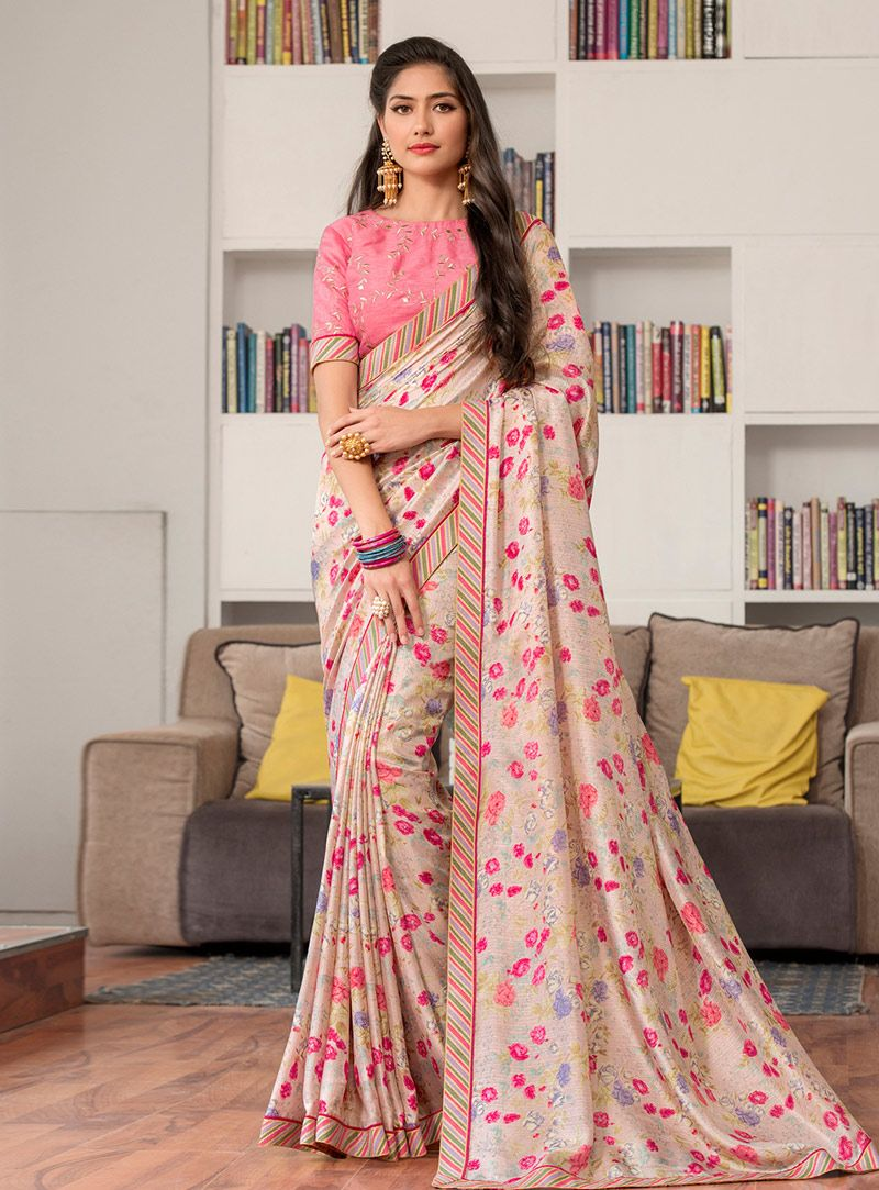 4da15c79b3 Buy Beige Silk Saree With Blouse 147528 with blouse online at lowest price  from vast collection of sarees at Indianclothstore.com.