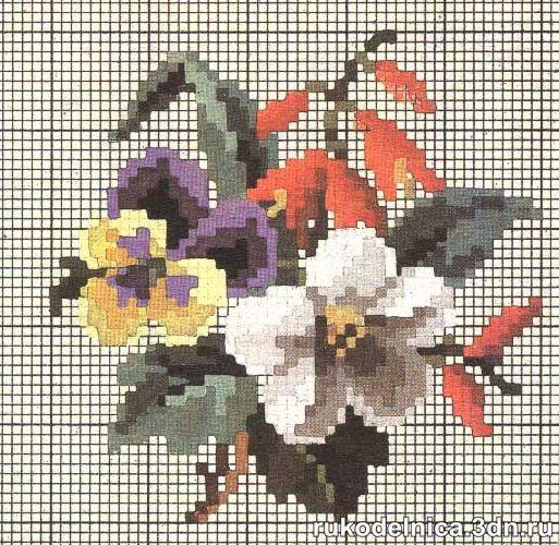 Вышивание: Схемы вышивки цветов. | Вышивание крестиком ...