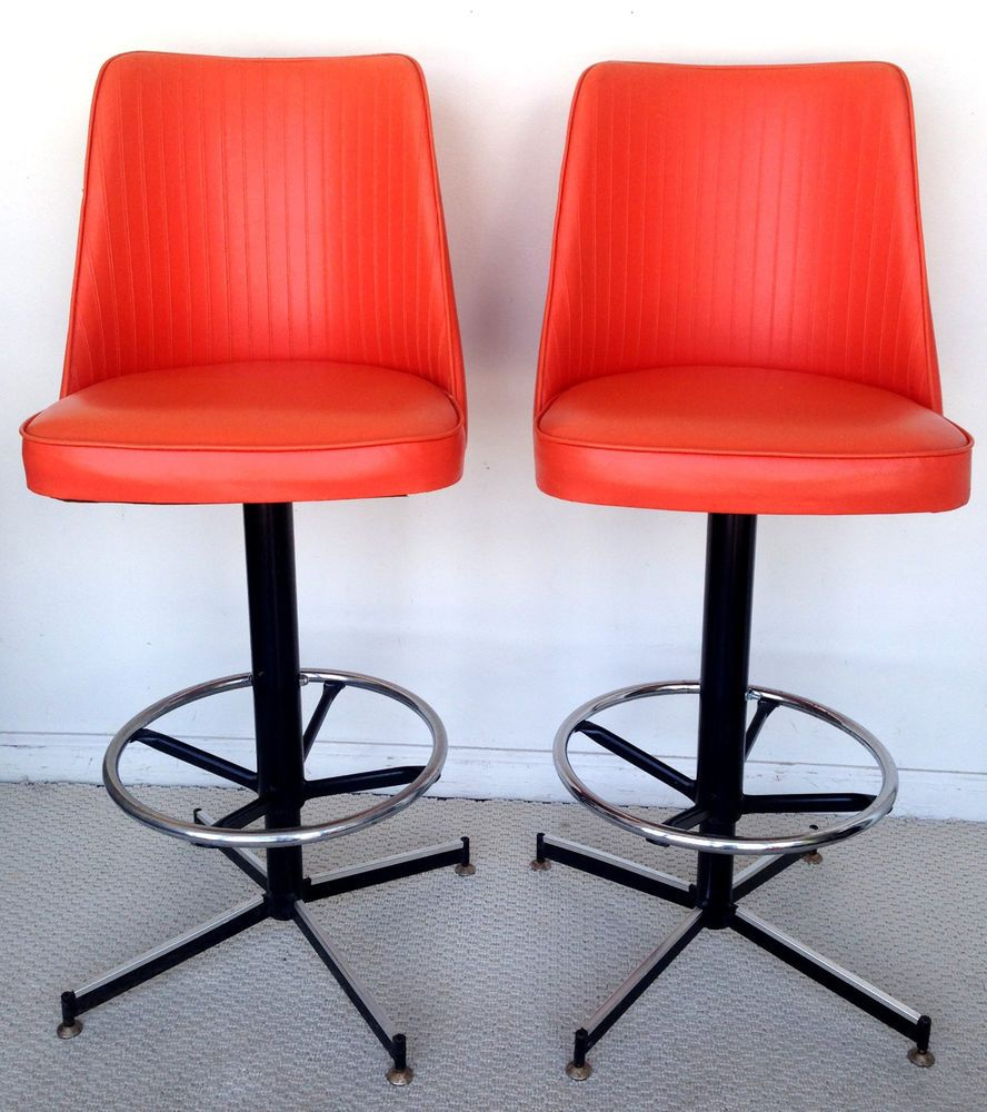 Vintage Mid Century Modern Swivel Bar Stools 2 Cosco Orange Vinyl Black Chrome Modern Swivel Swivel Bar Stools Bar Stools