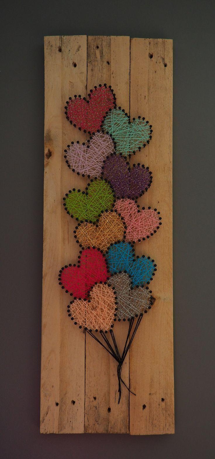 DIY Dekorationsherz mit Nägeln und Wolle – Wohnaccessoires
