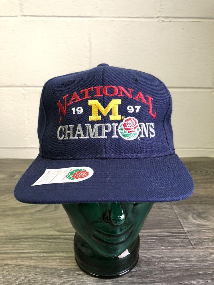 a7a7a04c0ba MICHIGAN WOLVERINES Snapback Hat VTG 1997 National Champions Rose Bowl NWT  Cap  HKap  BaseballCap
