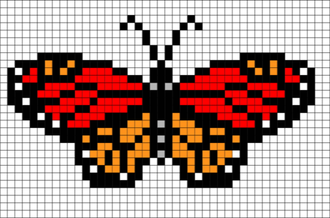 Monarch Butterfly Pixel Art Butterfly Cross Stitch Cross