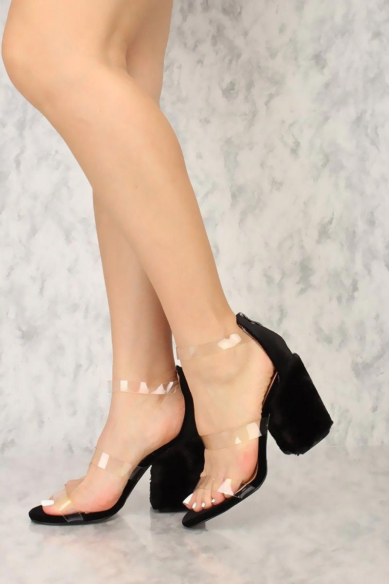 ac219b6ce4c9 Sexy Black Open Toe Faux Fur Chunky High Heels Velvet  Shoeshighheels