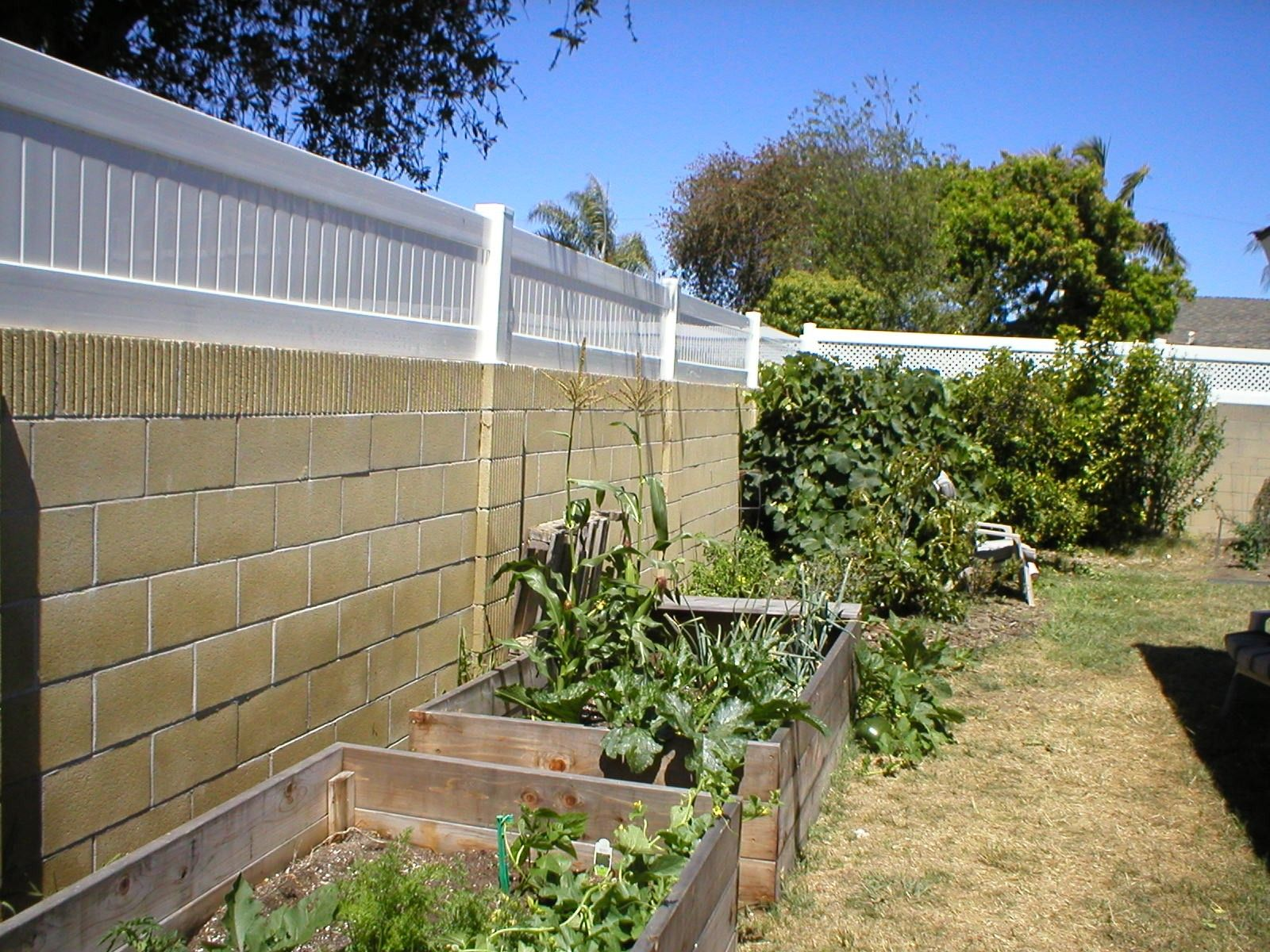 Vinyl Does A Very Good Job Attaching To The Top Of A Block Wall The Posts Are Hollow And We Set Steel In The Wall And Backyard Fences Backyard Concrete Patio