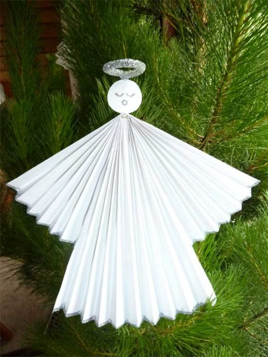 Paper Craft Ideas For Christmas Part - 36: DIY Easy Christmas Crafts Ideas Paper Angel Tree Ornament With Silver Rim