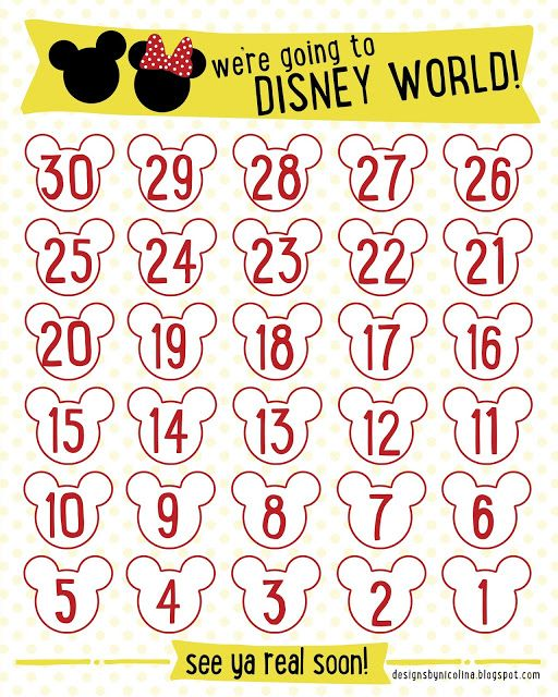 graphic relating to Printable Countdown Calendar Template identified as DISNEY COUNTDOWN! /// Free of charge PRINTABLE Countdown Calendar for
