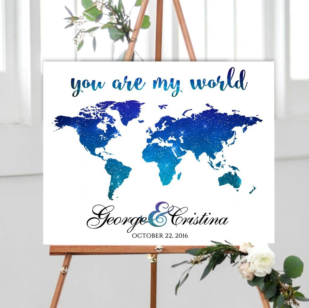 Watercolor Wedding Guest Book With World Map Wedding Guest Book