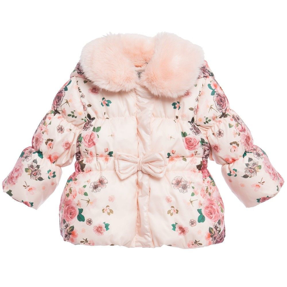 Baby Girls Pink Floral Puffer Jacket | Babies, Girls and Kids outfits