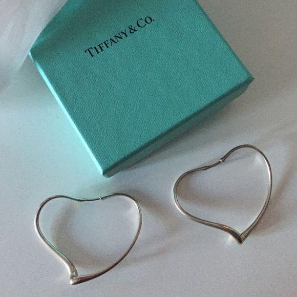 Tiffany Elsa Peretti Open Heart Hoop Earrings In Sterling