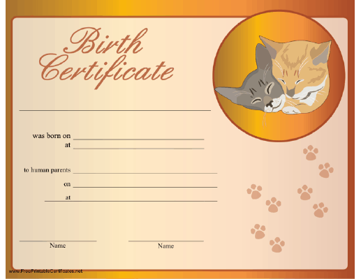 A birth certificate for a cat, honoring its adoption by ...
