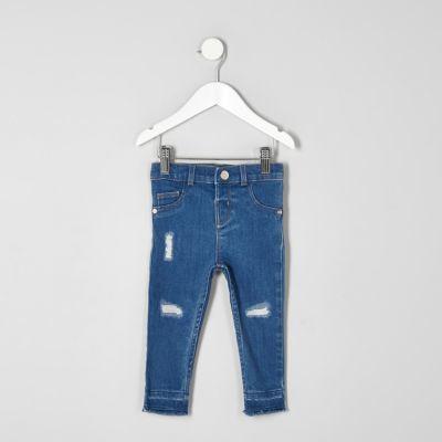 5c7a27e4b7a2 River Island Mini girls blue Molly ripped jeans