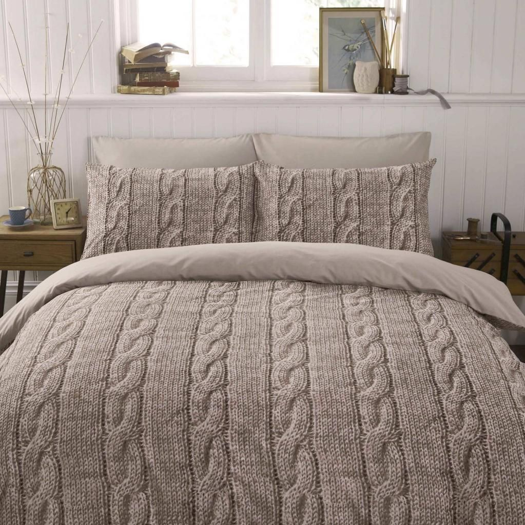 Beige And Coffee Plaid Print Linen Contemporary Bedroom: Warm Beige Brown Wool Cable Knit Photo Print Design