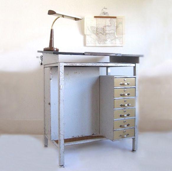 Vintage Metal Drafting Table.