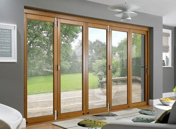 Vufold Prestige External Folding Sliding Doors 12ft Pre Finished Solid Oak Sliding Folding Doors External Bifold Doors Bifold Doors