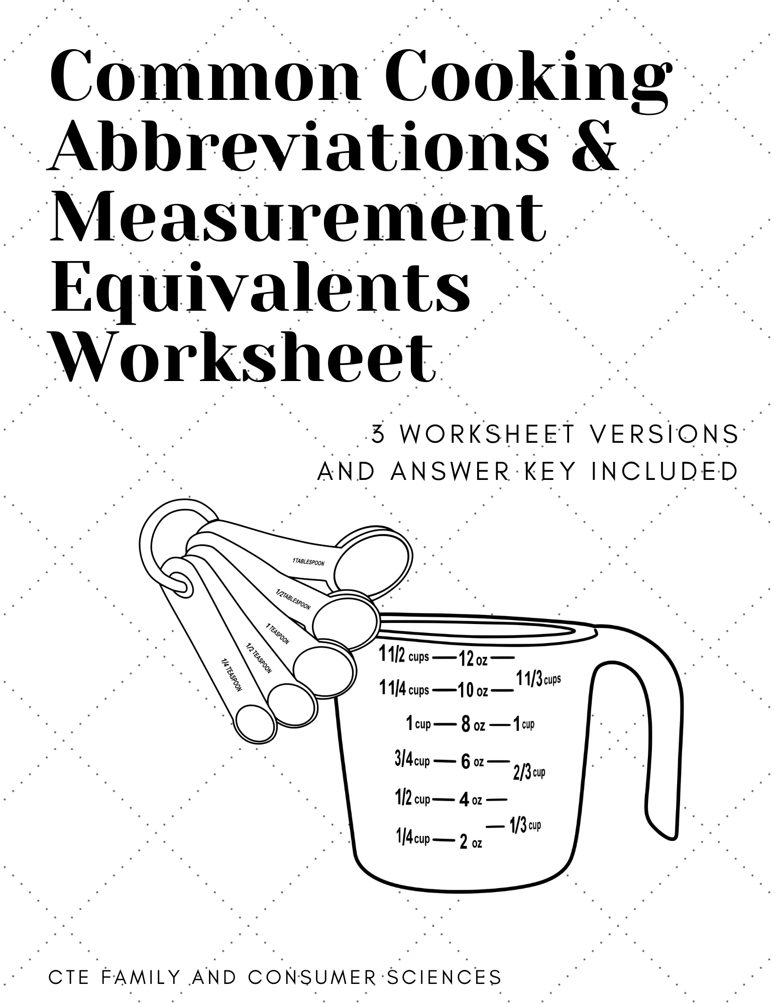 Common Cooking Abbreviations Measurement Equivalents Worksheet Family And Consumer Science Science Teaching Resources Teaching Science [ 2000 x 1545 Pixel ]