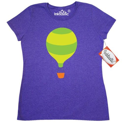 Inktastic Hot Air Balloon Cute Women's T-Shirt Striped Ballooning Hobbies Kids Childs Airplane Plane Helicopter Flight Clothing Apparel Tees Adult Hws, Size: Large, Grey