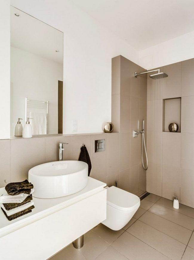 Kleines Bad Einrichten Beige Wand Bodenfliesen Weisses Schrank